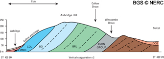 Cross-section of Axbridge Hill (click to enlarge view).