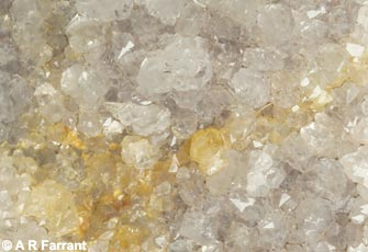 Quartz crystals ('Bristol Diamonds') from a geode, Sandford Hill.