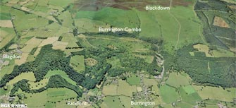 Aerial view of Burrington Combe (click to enlarge view).