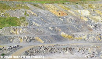 Dipping Carboniferous Limestone, Gurney Slade Quarry