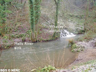 The Whatley outfall and the Mells River Sink just downstream.