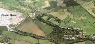 Aerial view of the Wadbury valley (click to enlarge view).