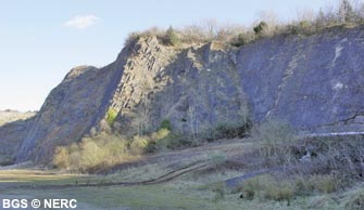 Steeply dipping limestone, Sandford Quarry.
