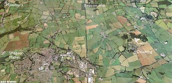 Aerial view of Shepton Mallet and Maesbury (click to enlarge view).