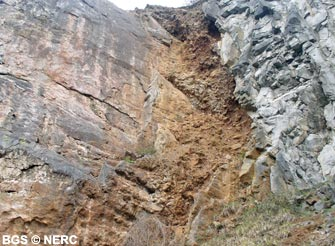 A fault with shattered rock exposed in a disused quarry, Shipham gorge.