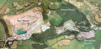 Aerial view of Torr Works and Asham Wood (click to enlarge view).