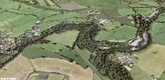 Aerial view of Great Elm and Vallis Vale (click to enlarge view).