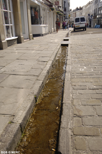 Water conduit running along Blue Lias limestone flags, fed by springs by Wells Cathedral.