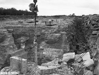The Doulting 'Freestone' being quarried from St Andrews Quarry, Doulting, 1957.