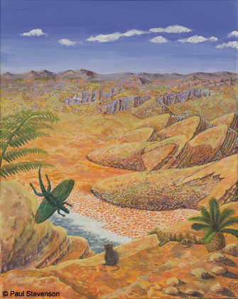 An artistic impression of the Triassic landscape