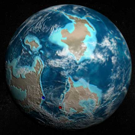 The Earth as it might have looked from space during the Ordovician Period, 450 million years ago.