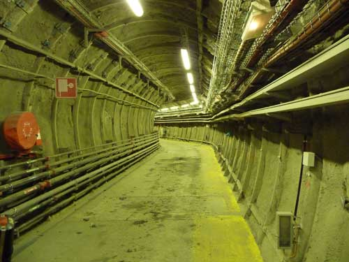 Interior of Bure URL, showing the shotcrete and steel lining, 490 metres below ground surface