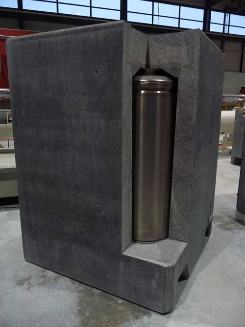 Simulation of a concrete  container cut through to show  one of the steel  canisters  which will hold the radioactive waste, Bure visitor centre
