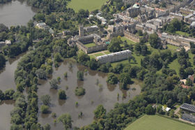 An aerial view of an Oxford University college