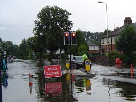A flooded road in Oxford