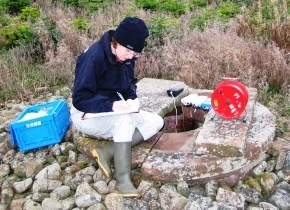 Gathering water data in a well, Eden Valley