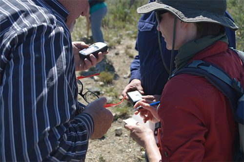 Photo 5. Huddling over the outcrop-scale instruments to ground-truth airborne data measurements.