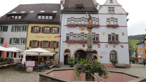 The centre of the town of Staufen showing damage to the Rathaus and nearby buildings from past drilling activities.
