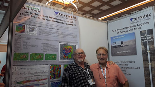 Greg Symons from terratec and Prof. Rainer Herd of BTU examining the work done at the Kaiserstuhl Carbonatite.