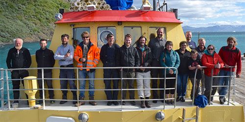 The HTAC group and crew of the Kisaq in Narsarssuaq harbour before heading home.