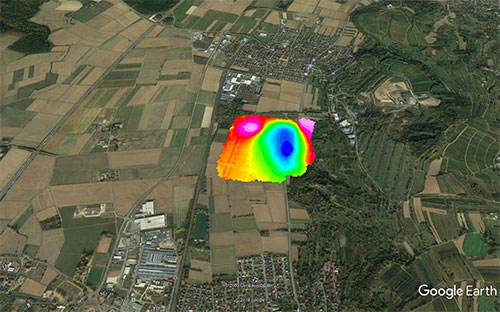 Example of a magnetic anomaly 15 km north of Kaiserstuhl.