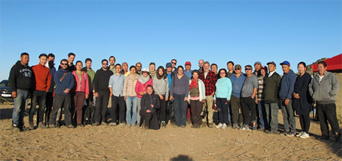 The whole expedition team at the Mushghai Khudag camp