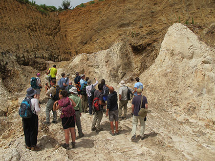 The HiTech AlkCarb team viewing carbonatite domes at the Pianciano carbonatite-fluorite deposit © K Goodenough
