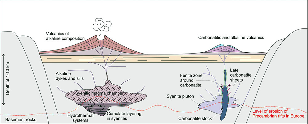 Schematic cross-section through hypothetical alkaline igneous-carbonatite systems