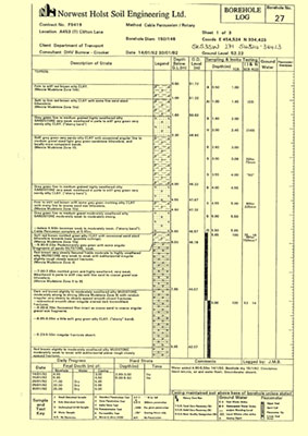 Borehole records: an example of one of the 1.2 million records we hold.