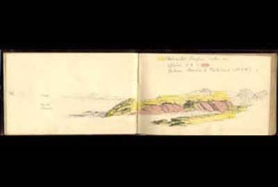 Notebooks: sketch of the dolomitic conglomerate quarry in the Portishead area. One of a number of detailed sketches by A H Green c. 1860.