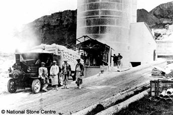 Old lime kiln, Callow Rock Quarry with steam lorry, Cheddar, in the 1930s