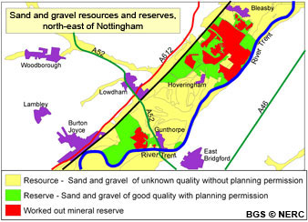 Trent valley sand and gravel resources and reserves north-east of Nottingham