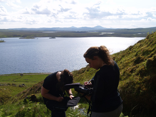 BGS geologists examining rare earth rich rocks in the Cnoc nan Cuilean intrusion, north-west Scotland