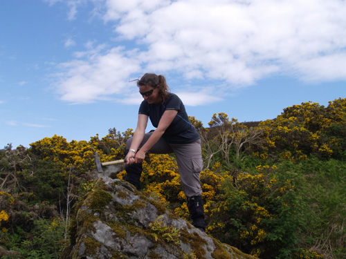 BGS geologist examining rare earth rich rocks in the Rogart Pluton, north-west Scotland