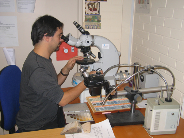 Microscope analysis of a stone sample for a stone matching report, BGS©NERC. Click to enlarge.