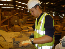 Delegates had the opportunity to try their hand at brick making at the Michelmersh brick works, BGS©NERC