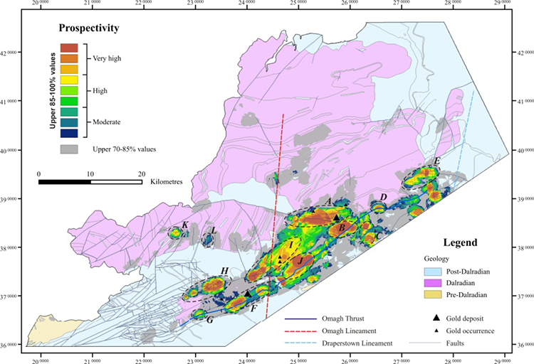 Gold prospectivity map for the Dalradian rocks of north–west Northern Ireland, BGS©NERC