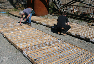 Examining core from recent drilling at the Parys Mountain, BGS©NERC