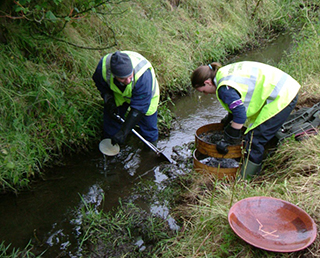 Stream-sediment sampling in Northern Ireland Photo Copyright: BGS©NERC