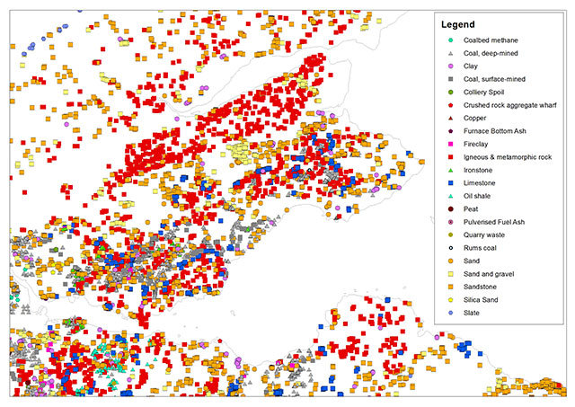 Distribution of mineral sites in Fife and the surrounding areas of central Scotland, showing the range of commodities information held in BRITPITS database for this area, Click to enlarge. BGS©NERC