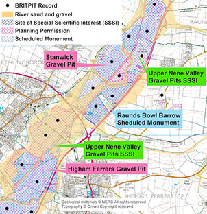 Example of a mineral resource study using BRITPITS and other BGS databases, Click to enlarge. BGS©NERC