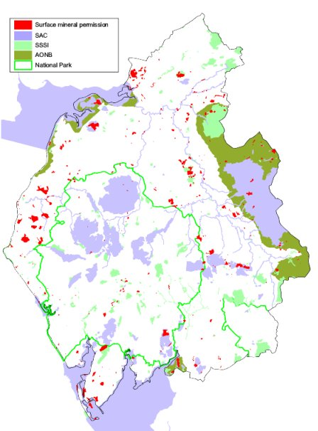 Cumbria, showing surface planning permissions and major environmental designations, BGS©NERC. Click to enlarge.