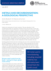 Download Metals and Decarbonisation Science Briefing Paper, BGS©NERC