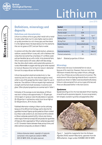 Download Minerals profile - Lithium. BGS©NERC
