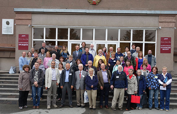 Attendees at the Alkaline Magmatism conference outside the Kola Science Centre. Photo Copyright Prof Dr Hüseyin Öztürk