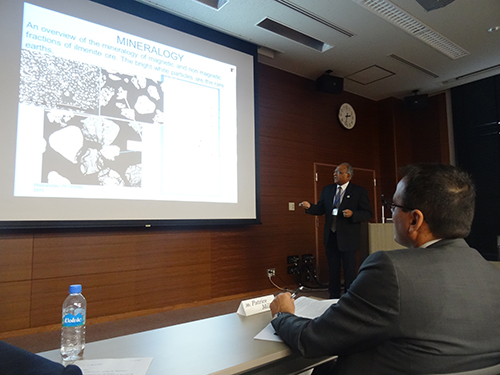 Animesh Jha gave a talk on alkali roasting at the conference in Sendai. Copyright Frances Wall.