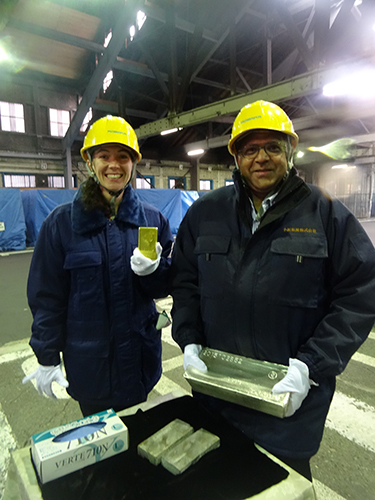 Gold and Silver recovered from waste at the Kosaka Smelter, Odate (Animesh Jha, EU, Megan Brewster, USA). Copyright Frances Wall.