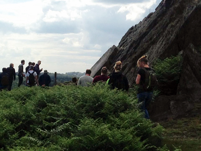 SoS Minerals PhD students studying the outcrops in Bradgate Park. Copyright Delia Cangelosi.