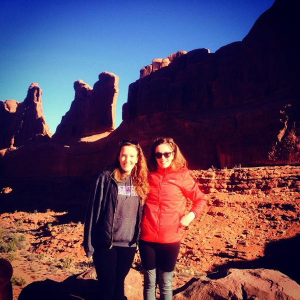 Left to right. Victoria Vaccarezza of KIEM and Milly Owens of SoS RARE at Arches National Park, Utah. Copyright Camilla Owens