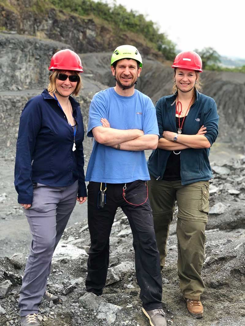 The St Andrews team (from left to right: Nicky Horsburgh, Adrian Finch and Anouk Borst) at the Jorcal limestone quarry near Jacupiranga, Brazil. Copyright Andrezza Azzi